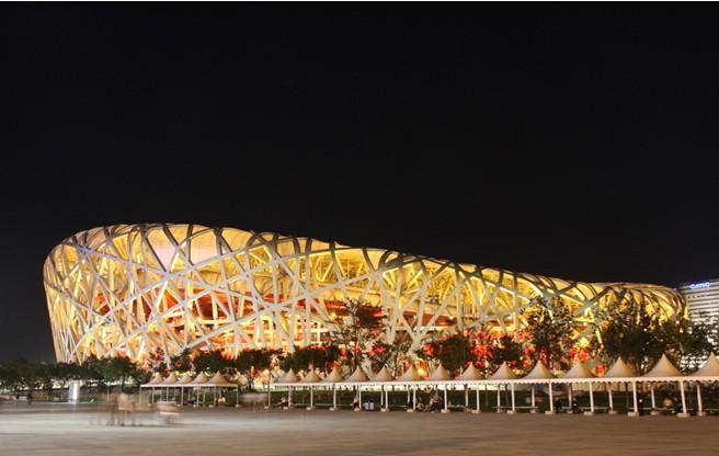 北京奥运会主体育场(鸟巢)内的主火炬台是什么样子?