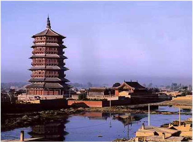 原塔为八角密檐式砖石结构,青砖到顶,飞檐挑角,角系铜铃,塔身13级,第